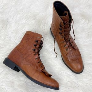 ARIAT Brown Kiltie Leather Boots Size 9